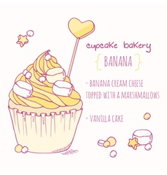 Hand drawn banana cupcake vector