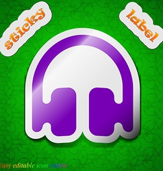 Headphones earphones icon sign symbol chic colored vector