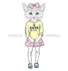 Humanimal kitty girl vector