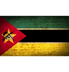 Flags mozambique with dirty paper texture vector