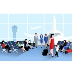 People on airport composition vector