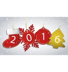New year tags on a snowy background vector