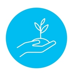 Hands holding seedling in soil line icon vector