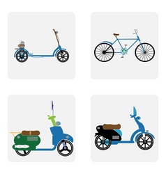 Monochrome icon set with motorbike vector