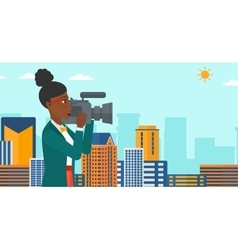 Camerawoman with video camera vector
