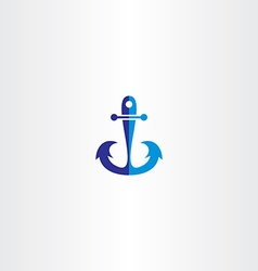 Anchor icon blue symbol vector