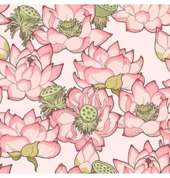 Blooming lotus seamless vector