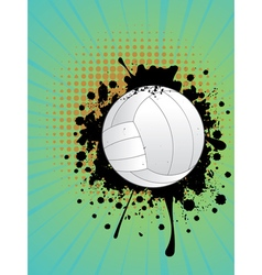 Volleyball ball on rays background2 vector
