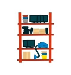 Storehouse shelf with objects vector