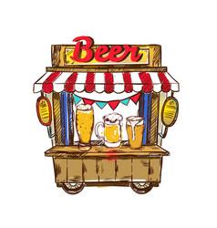 Beer pub outdoor composition vector