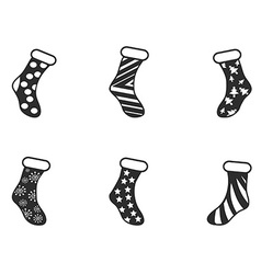 black christmas socks icon set vector image