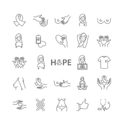 Breast cancer icons set vector