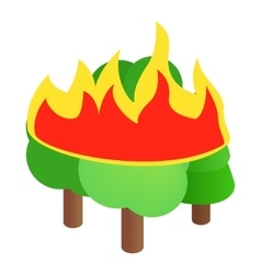 Burning forest trees icon isometric 3d style vector