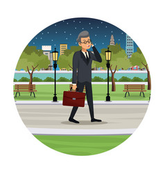 business man talk walking street view night vector image