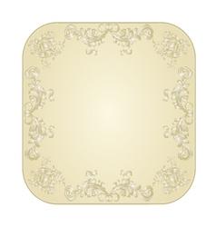 Button square festive filigree floral ornaments vector