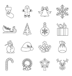Christmas icons set outlline style vector image vector image