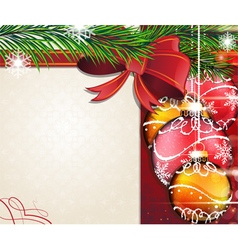Christmas tree branches with bow and baubles vector