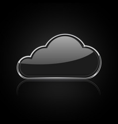 cloud icon shiny black 3d icon with chrome frame vector image
