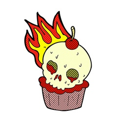 Comic cartoon halloween cup cake vector