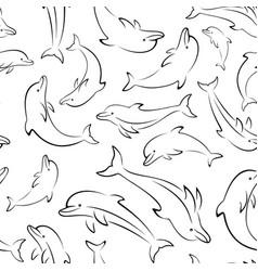 Dolphin contours seamless vector