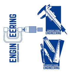 engineering company logo templates vector image vector image