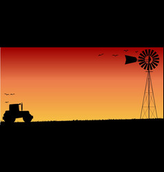 farmers sunset vector image
