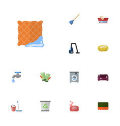 Flat icons faucet wisp washcloth and other vector