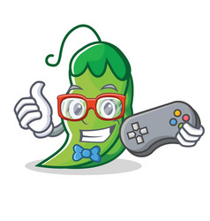 Gamer peas mascot cartoon style vector