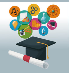 graduation cap and certificate with bubbles icons vector image vector image