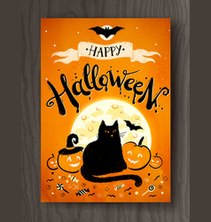 halloween postcard design with lettering vector image vector image