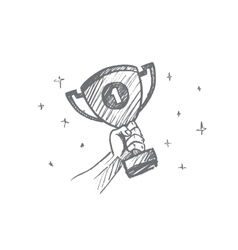 Hand drawn trophy for the first place in palm vector image vector image