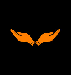 Hand sign orange icon on black vector