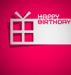 Happy Birthday Card with Paper Cut Gift Box on vector image