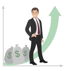 Happy businessman or manager stands near a pile of vector
