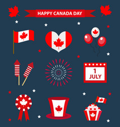 Happy canada day icons set design elements flat vector