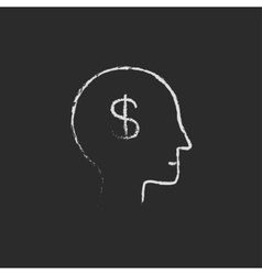 Head with dollar symbol icon drawn in chalk vector image vector image