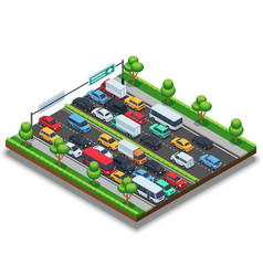isometric highway with traffic jam 3d vector image vector image