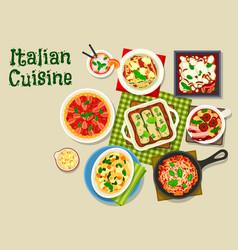 Italian cuisine icon with pasta and lasagna vector