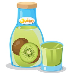 Kiwi juice in the bottle vector image vector image