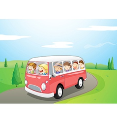 Little children riding in a bus vector image vector image