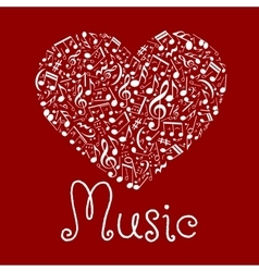 Loving musical heart symbol made up of notes vector image