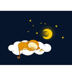 moneky sleeping vector image vector image