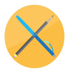 Pen and pencil cross icon flat vector image vector image