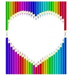 pencils heart shape vector image vector image