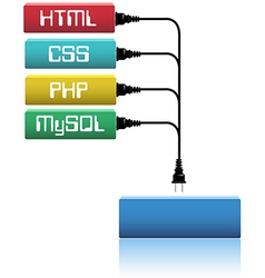 Plug html css php into website dev vector