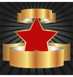 red star with gold ribbons vector image