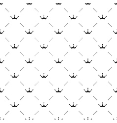 Seamless black pattern with king crowns on vector