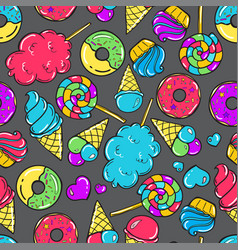 Seamless pattern with candy donuts sweet icecream vector