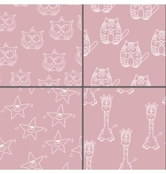 Set Funny Seamless pattern with cat giraffe owls vector image vector image