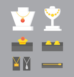 Set of jewelry items gold and gemstones precious vector